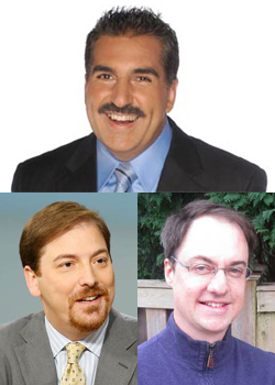 Fernando Fiore (Univision), Chuck Todd (NBC) and Michael Whitmer (Boston Globe)